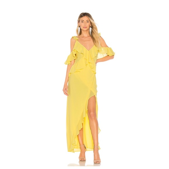 Michael Costello Dresses & Skirts - Michael Costello Yellow Gown with Ruffles